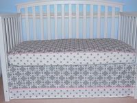 READY to ship 2 PC bedding set: Crib sheet and skirt Gray / White/ Pink trim