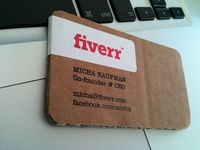 Handmade Fiverr recycled carton business card, by Micha Kaufman