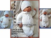 CROCHET PATTERN boy baby num 226, Double Breasted Boys Christening Outfit newborn, 3 to 6 months, and 6 to 12 months. Pants, jacket and hat. $5.99, via Etsy.