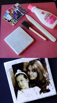 Transferring pictures to tiles by using Nail Polish Remover.coasters with image