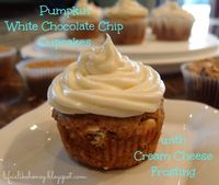 Pumpkin White Chocolate Chip Cupcakes with Cream Cheese Frosting