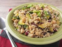 Warm Quinoa Salad with Brussels Sprouts, Chickpeas & Cranberries