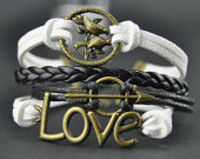 love arrow birds bracelet,black braid leather bracelet,wax ropes bracelet,handmade charm bracel