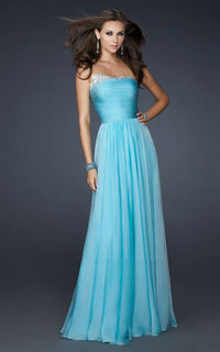 2013 Strapless Sequin Chiffon Long Blue Homecoming Dress