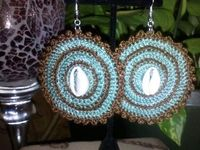 Cowrie Shell accented Crocheted Earrings by Keishascrochetcorner, $15.00