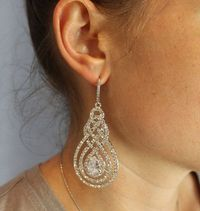 Crystal Pave Swirl Bridal Chandelier Earrings, Vintage Art Deco, Bridal Jewelry, Wedding Jewelry, Befrosted
