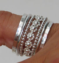 Set of Stacking Rings Sterling Silver Bold Band of Daisy Flowers Between Dotted & Hammered Bands