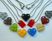 Lego Heart Keychain Necklace Set Friendship BFF Couples - Includes Lego Heart KEYCHAIN Set - Two Lego Zipper Pull Charms & Gift Pouches. $12.00, via Etsy.