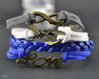 Handmade Charm Bracelet with Antique Bronze,Anchor Love Infinity Bracelet,Braided Leather wax cord Bracel