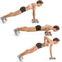 Pushup To Plank Row Modifier: This move can be done with or without dumbbells, and from the knees. Click on the image for more deets!