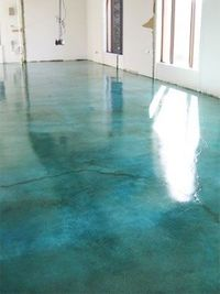 Stained concrete. Looks like water. So cool.