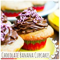 Chocolate Frosted Banana Cupcakes. Vegan Valentine's Day!