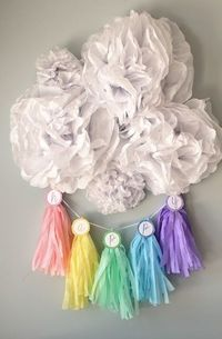 'happy' DIY rainbow tassel and paper pom backdrop