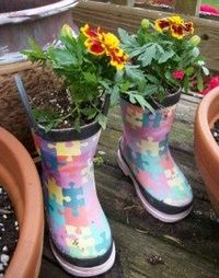 Up-cycle old boots into a planter
