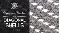 This video crochet tutorial will help you learn how to crochet the diagonal shells stitch. This stitch creates light fabric covered with diagonal lines of shells. The diagonal shells stitch would be great for afghans, wraps and light sweaters!