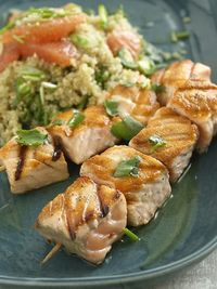 Salmon Kebabs w/Quinoa and Grapefruit salad from The Food Network