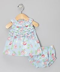Take a look at this Blue Rose Ruffle Josephine Dress & Bloomers - Infant by Baby Nay on #zulily today!