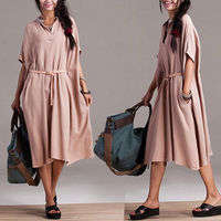 Ramie personality casual lace dress / bat sleeve cotton long section of a small pocket solid color dress