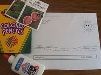 Dictation Idea: I will plant in my garden. Give children coloring materials, glue, & seeds to draw their picture