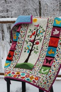 "Flannel ""Tree of Life"" baby quilt."