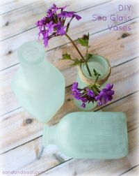 DIY:: BEAUTIFUL ! Easy to Make Sea Glass Vases ! Why bother with Pottery Barn when you can easily make your own! by www.sandandsisal.com