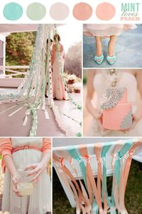 wedding color combination: Mint Loves Peach: mint green/blue and pink/mauve