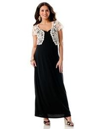 Maternity Maxi Dress With Short Sleeve Crochet Shrug