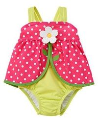 Gymboree Bright Lime Green with Pink Polka Dot and Daisy flower swimsuit.