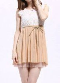 White Pink Round Neck Chiffon Lace Splice Dress