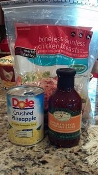 Hawaiian Crockpot Chicken ~ Put 4-6 chicken breasts in the bottom of the crock pot; cover with at least 16 oz of BBQ sauce; then, top with crushed or chunked pineapple. Cook on low for at least 5 hours. When done, strain the excess liquid (don't d...