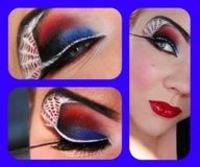 Red/blue/white Spiderman eye makeup by Jangsara using Fly Dragon Fly, Lunar Sea white liner and Candy Apple lip gloss by Lime Crime. Love the little web!