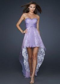 2013 Strapless High Low Light Purple Lace Lined Homecoming Dress