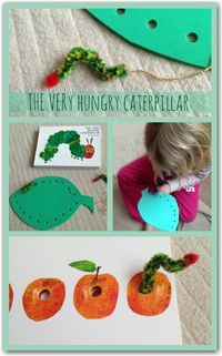 Threading activities to go with The Very Hungry Caterpillar by Eric Carle