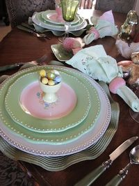 """Easter Tablescape centered around the children's book """"The Country Bunny and the Little Gold Shoes"""""""