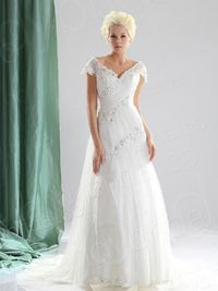 A Line V Neck Court Train Lace Wedding Dress H1b12278lbld