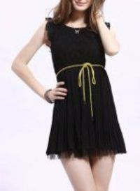 Black Round Neck Chiffon Lace Splice Dress