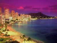 Waikiki Beach, Oahu, Hawaii at night