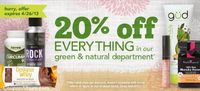 DrugStore Coupon: 20% off Green & Natural Products!