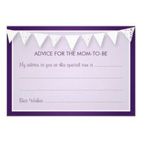Advice Card Baby Shower Love Bunting Purple