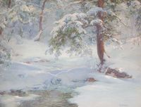 """""""A Winter Idyll"""" by Walter Launt Palmer, c.1917"""