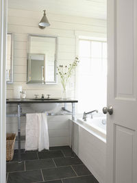 source: BHG Sleek bathroom with slate floor, white horizontal plank board walls and drop-in bath surround. Modern double sink washstand with chrome legs and black stone countertop. Restoration Hardware Framed Medicine cabinet and Visual Comfoprt Lighting ...