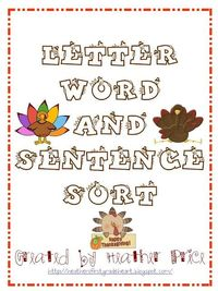 Letter, word, and sentence sort.
