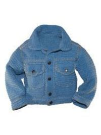 Jean Jacket Cool Crochet from AnniesCatalog.com -- This crochet baby jacket pattern was inspired by the classic denim jacket. Made using light worsted or DK weight yarn.
