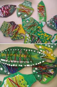 Cardboard & string fish - these look interesting.