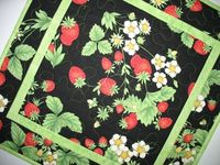 Strawberry Table Topper Quilted fabric from by PicketFenceFabric, $24.95