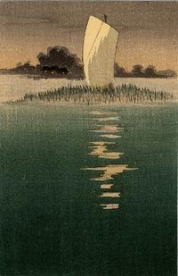 Boat on the Water (from an unidentified series), Japanese, Late Meiji era.