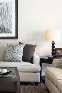 Living Room - Neutral Transitional with touches of blue - Karen Davis Design