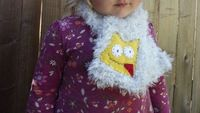 Toddler Monster Scarf gray crochet / Yellow fleece by nodsu, $16.00