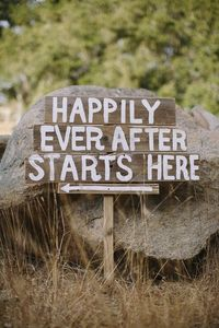 Josh's dad is going to make a cute sign out of wood similar to this for the outdoor ceremony