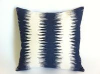 Decorative Throw Pillow Cover Blue and Cream Ikat Print 18x18 Inch Pillow Shop